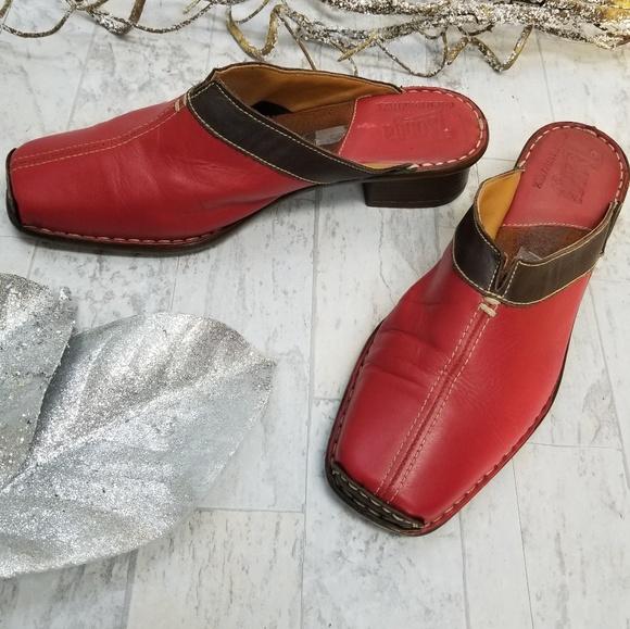 Tsonga Red & Black Leather Mules Size 8